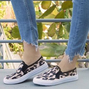 NWOB Qupid REBA canvas slip on leopard sneakers!